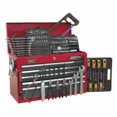 Sealey Topchest 9 Drawer with Ball Bearing Slides - Red/Grey & 205pc Tool Kit