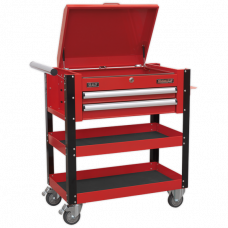 Sealey Heavy-Duty Mobile Tool & Parts Trolley 2 Drawers & Lockable Top - Red