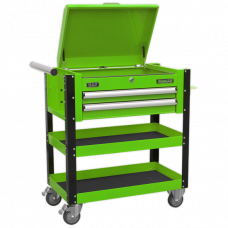 Sealey Heavy-Duty Mobile Tool & Parts Trolley 2 Drawers & Lockable Top - Hi-Vis Green