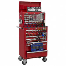 Sealey Topchest & Rollcab Combination 15 Drawer with Ball Bearing Slides - Red & 147pc Tool Kit
