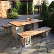 Arran 6 Seater Table and Bench Set (excl. stone)