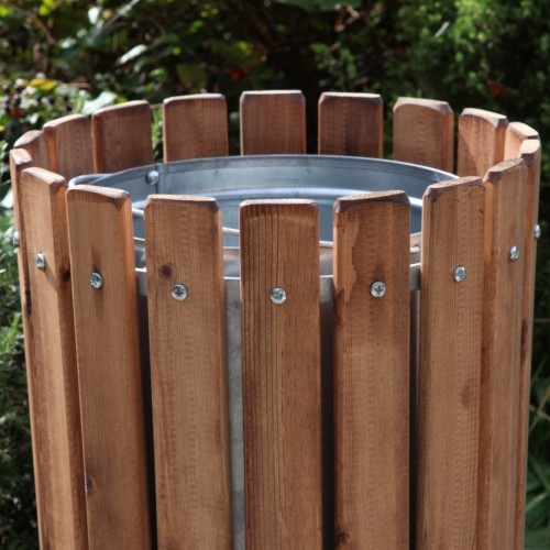 Park Litter Bin Wooden Open Topped