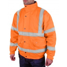 Hi-Vis Fleece Lined Bomber Jacket, orange