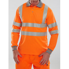 Hi-Vis Long Sleeve Polo Shirt EN ISO 20471, orange