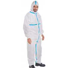 Semi-Disposable Coverall White Microporous Type 4/5/6