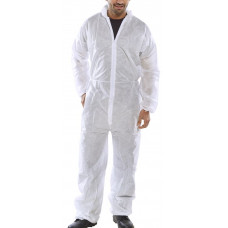 Disposable Coverall/Boilersuit - White - pack 50
