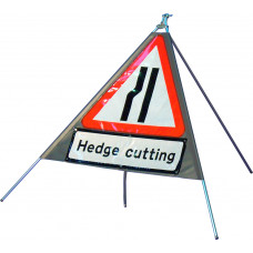 Triangular Road Narrows Left Quazar Sign with variant text