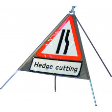 Triangular Road Narrows Right Quazar Sign with variant text