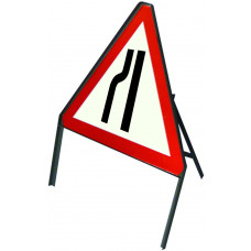 Triangular Road Narrows Left Angle Iron Sign
