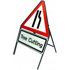 Triangular Angle-Iron Road Narrows Right Sign with variant text plate,