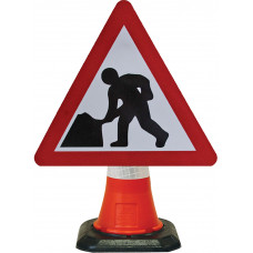 Cone Mounted Sign  - Man at Work 600mm