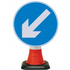 Cone Mounted Sign  - Reversible Arrow Left 600mm