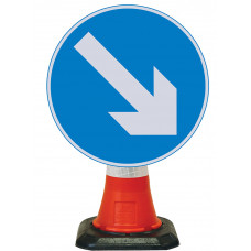 Cone Mounted Sign  - Reversible Arrow Right 600mm