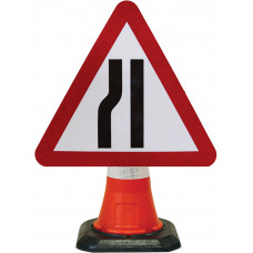 Cone Mounted Sign  - Road Narrows Left 600mm