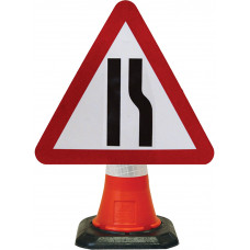 Cone Mounted Sign  - Road Narrows Right 600mm