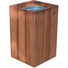 Courtyard Litter Bin - wooden
