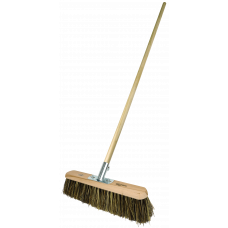 "Platform Broom -  18"" stiff Broom/Grass mix filled - with handle"