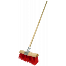 Yard Broom - Red PVC filled - with handle