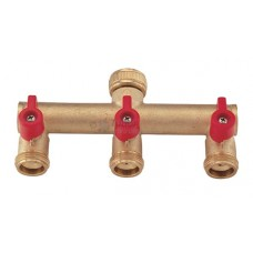 Tap Brass Threaded Connector, 3-Way