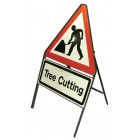Triangular Angle-Iron Sign with variant text plate, 600mm