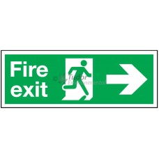 Sign 400x150mm, Fire Exit, arrow right