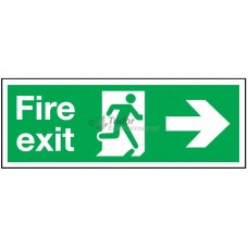Sign 600x200mm, Fire exit, arrow right