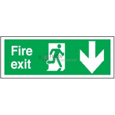 Sign 400x150mm, Fire Exit, arrow down