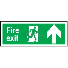 Sign 400x150mm, Fire Exit, arrow up