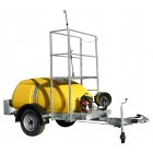 Trailer Mounted Watering Unit with Petrol Engine. 250 gallon plus walking platform