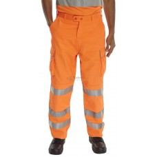 Hi-Vis Polycotton 'Railspec' Work Trousers, orange